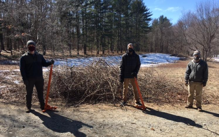 Land Stewardship Coordinator, Community Engagement Coordinator and Bolton Trails Committee Member remove bittersweet at bowers